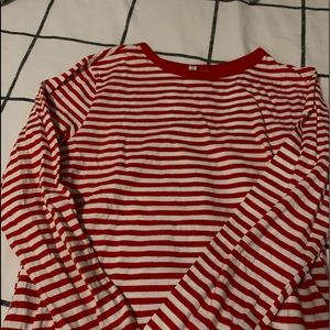 red and white stripped long sleeve shirt